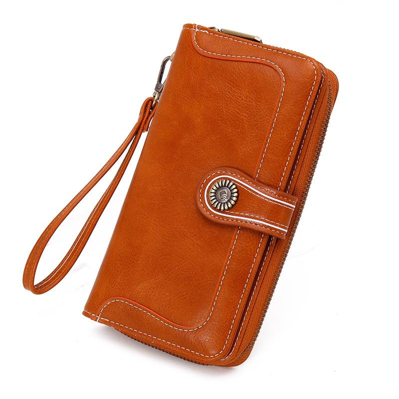 Женские Длинные кошельки, ретро особым образом Вощеная кожа, новые кошельки, женские клатчи, мульти-функциональный мобильный телефон сумки