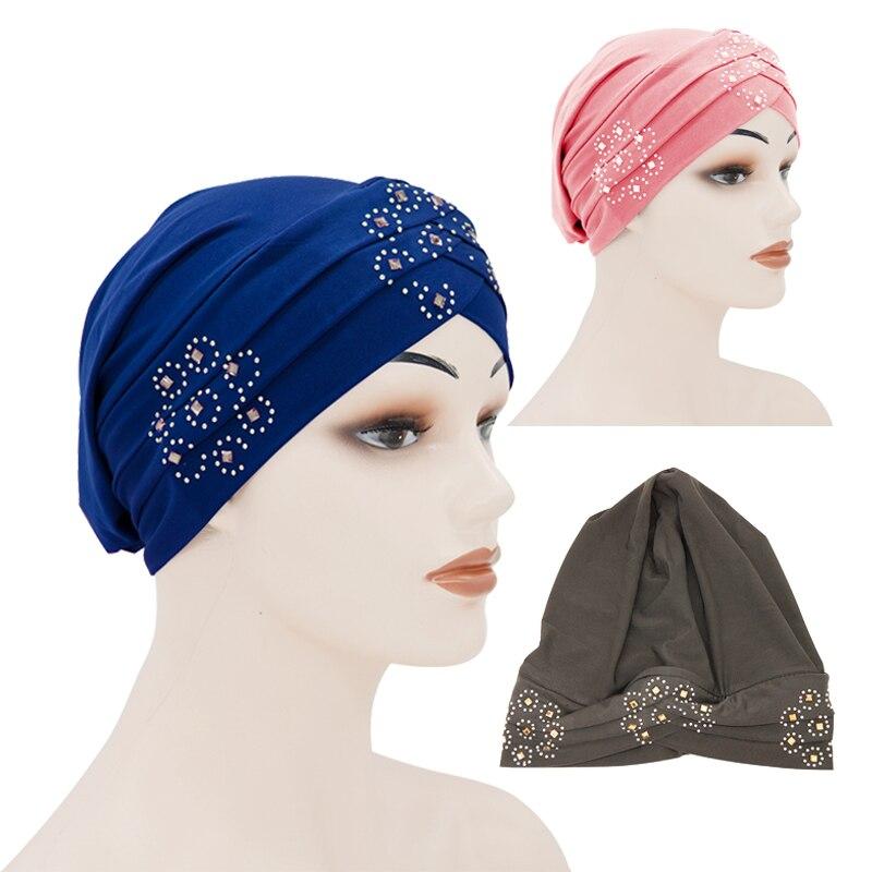 Fashion Muslim Turban Hat Soft Stretch Women Wrap Head Scarf Hijab Caps With Drill Solid Forehead Cross Hijab Bonnet For Ladies