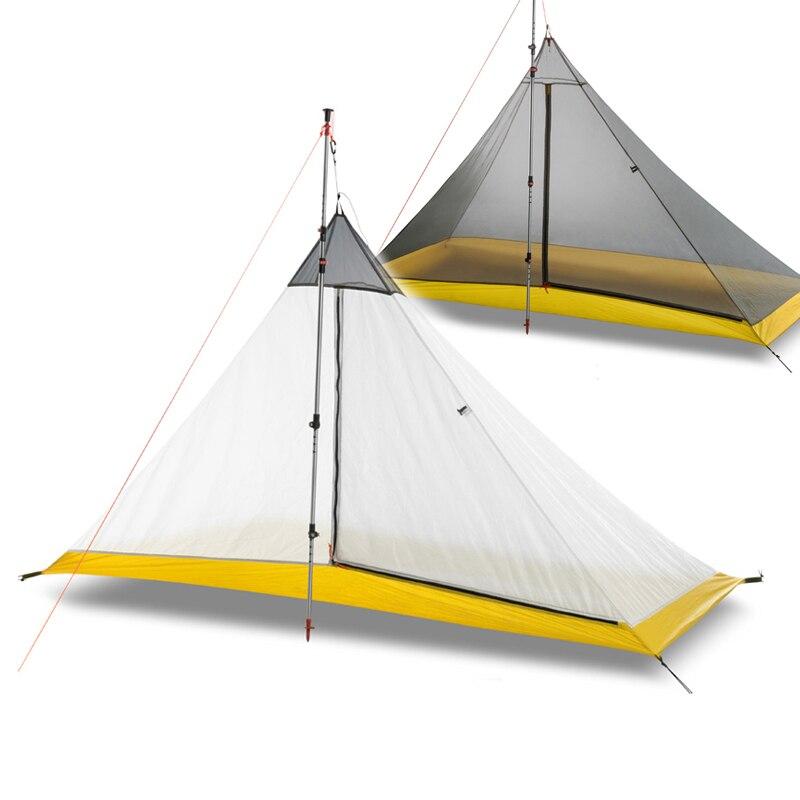 668G קמפינג אוהל 1-2 אדם חיצוני 40D ניילון סיליקון ציפוי Rodless פירמידת גדול אוהל קמפינג 4 עונה אוהל פנימי