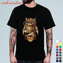 New spring summer Steampunk Owl T shirts Men Short Sleeve Camiseta Hombre Magic Owl Tshirt Male Hips