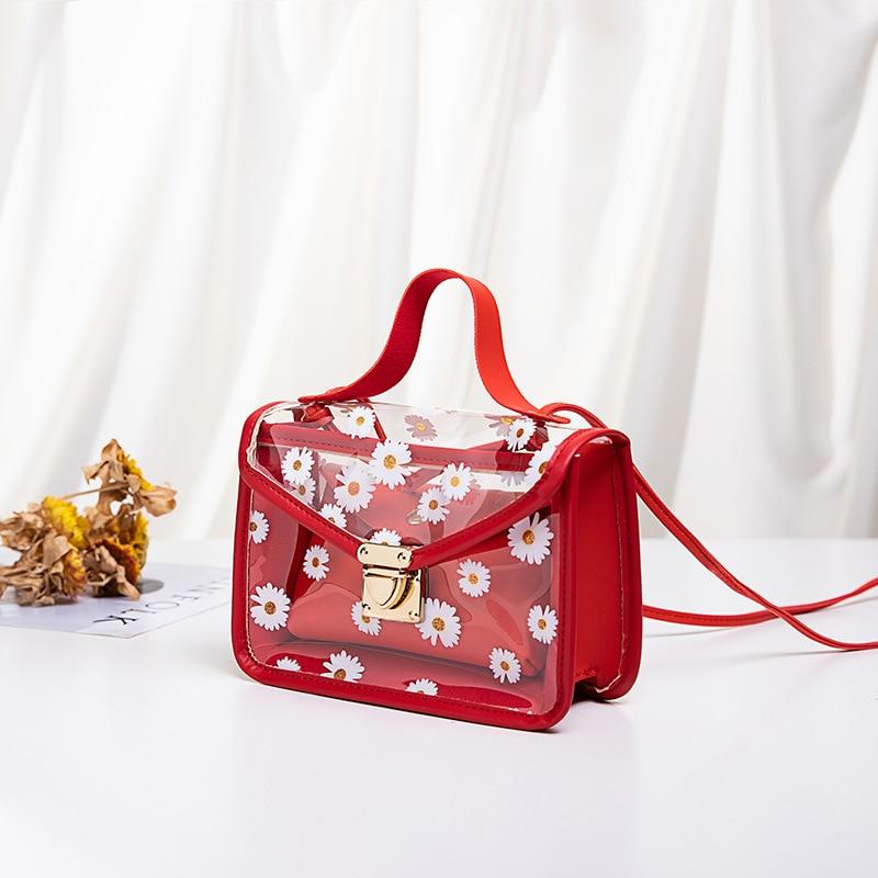 Korean Transparent Daisy Pattern Women Small Square Shoulder Bag Women's handbag Hot Sale Fashion Crossbody Bag Composite Tote