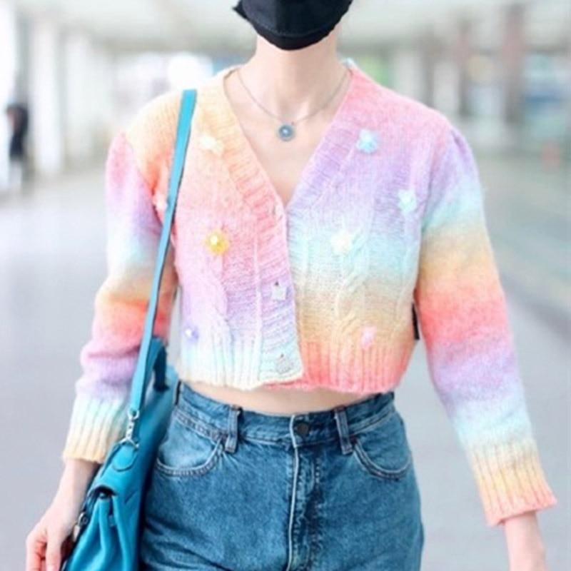 Sweet Rainbow Gradient Cropped Cardigans Women Short Sweater 2021 Autumn Appliques Flower Cardigan V-neck Loose Cardigan Sweater enlarge