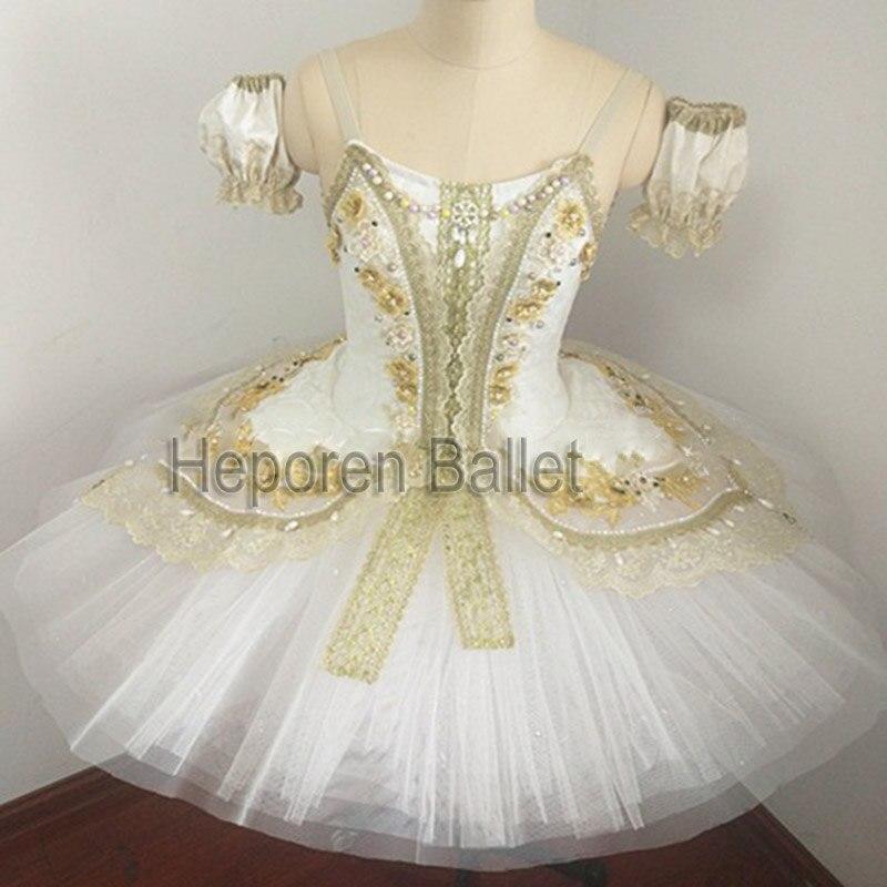 Vestido de Ballet para niños adultos con variación de Bella Durmiente, Tutu de Ballet de gasa de Hada de las flores dorada Raymond perla de palacio