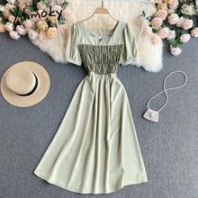 Yitimoky Fashion Dresses Women Contrase Color Spliced Elastic High Waist Puff Sleeve Square Collar A