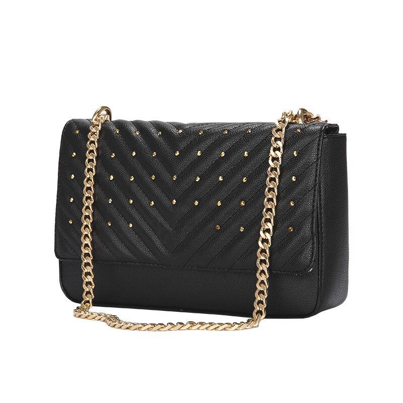 Black Messenger Bags women Chains Shoulder Bag Diamond lattice luxury Rivet handbags bags designer Female Totes small bolsas