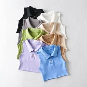 Summer new polo collar vest women ins fashion women's 2021 short solid color lapel T-shirt vest