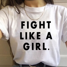 Feministischen Kampf Wie EIN Mädchen Harajuku T Hemd Frauen Ullzang 90s Vintage T-shirt Feminismus Grafik T-shirt Korea Stil Top t Weibliche