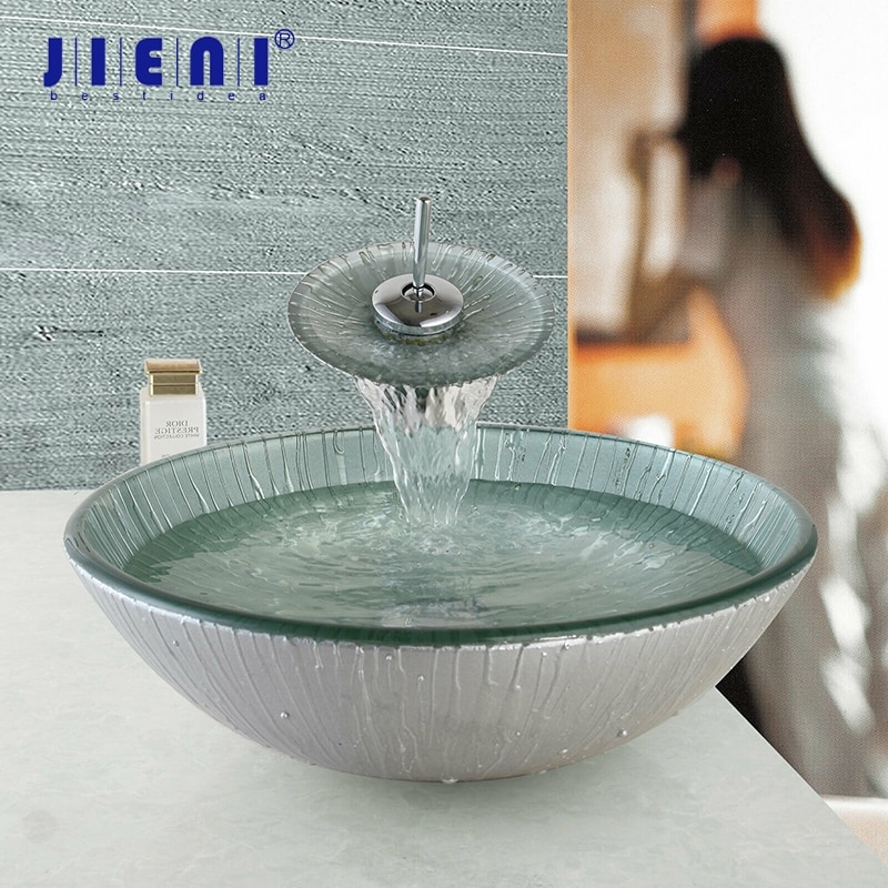 JIENI lavabo hecho a mano lavabo de baño conjunto de fregadero de vidrio templado lavabo de baño acabado cromado grifo de baño
