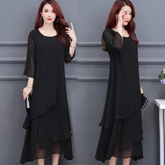 ¡Nuevo verano 6086! Vestido de chifón suelto negro de talla grande 5XL de COIGARSAM