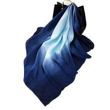 Mode femmes écharpe de luxe marque Hijab 100% soie sentiment châle écharpe bleu Foulard carré tête foulards enveloppes 2019 nouveau 90x90cm