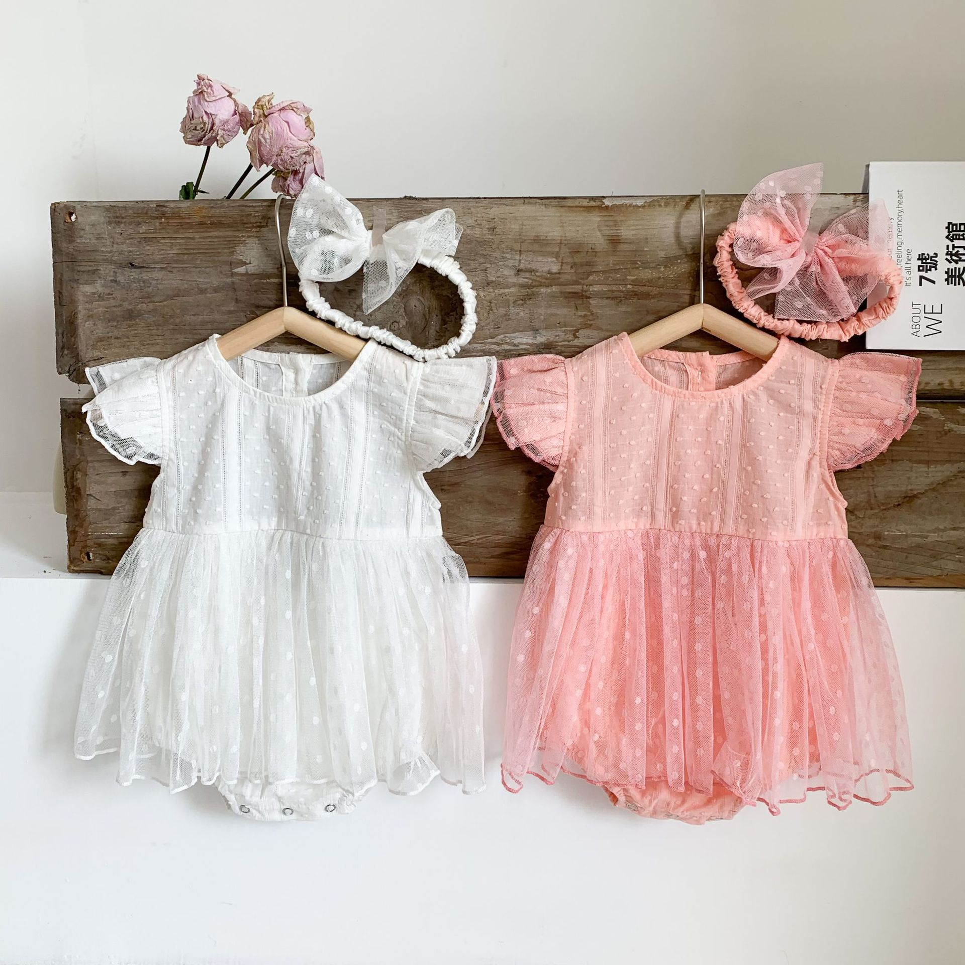 Yg Brand Children's Clothing 2021 Summer Korean Baby Short Sleeve One Piece Hairband Solid Color Mesh Baby Dress