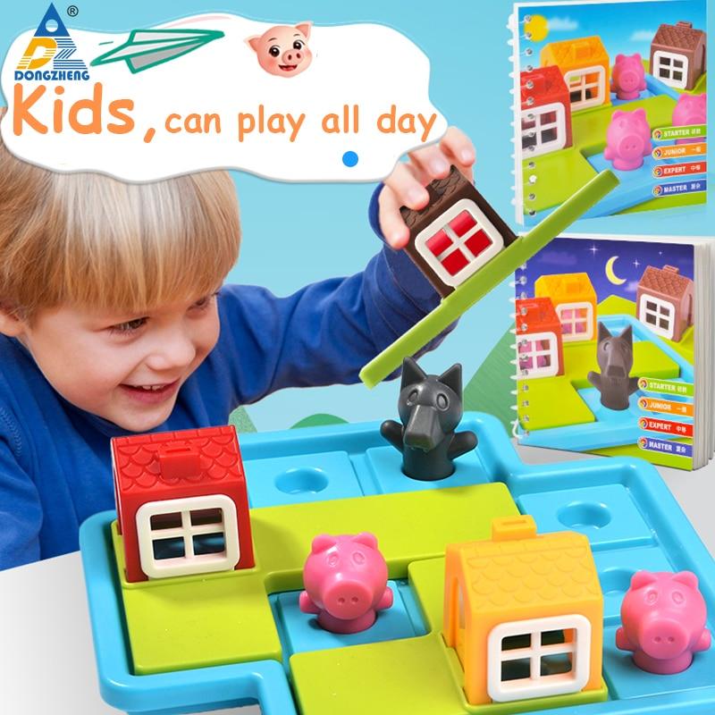 Детские умные настольные игры три маленьких поросенка 48 вызов с решением игра обучение IQ игрушки для детей мышление настольные игры цена бум игра бродилка три поросенка а3