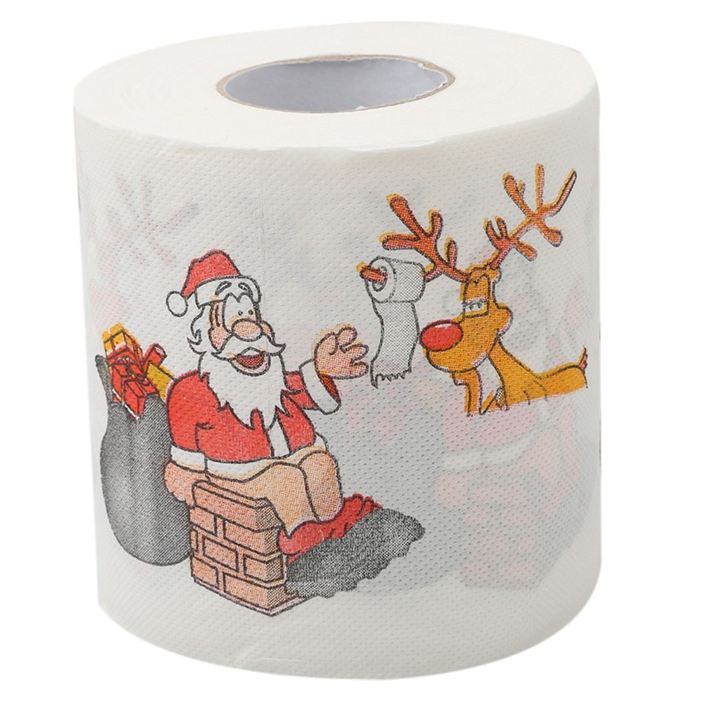 Toilet Paper Roll Christmas Pattern Series Creative Printing Santa Claus Creative Pattern Practical 3 Ply Face
