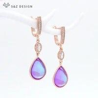 sz design trendy crystal water drop dangle earrings 585 rose gold zirconia long eardrop for women fine luxury wedding jewelry