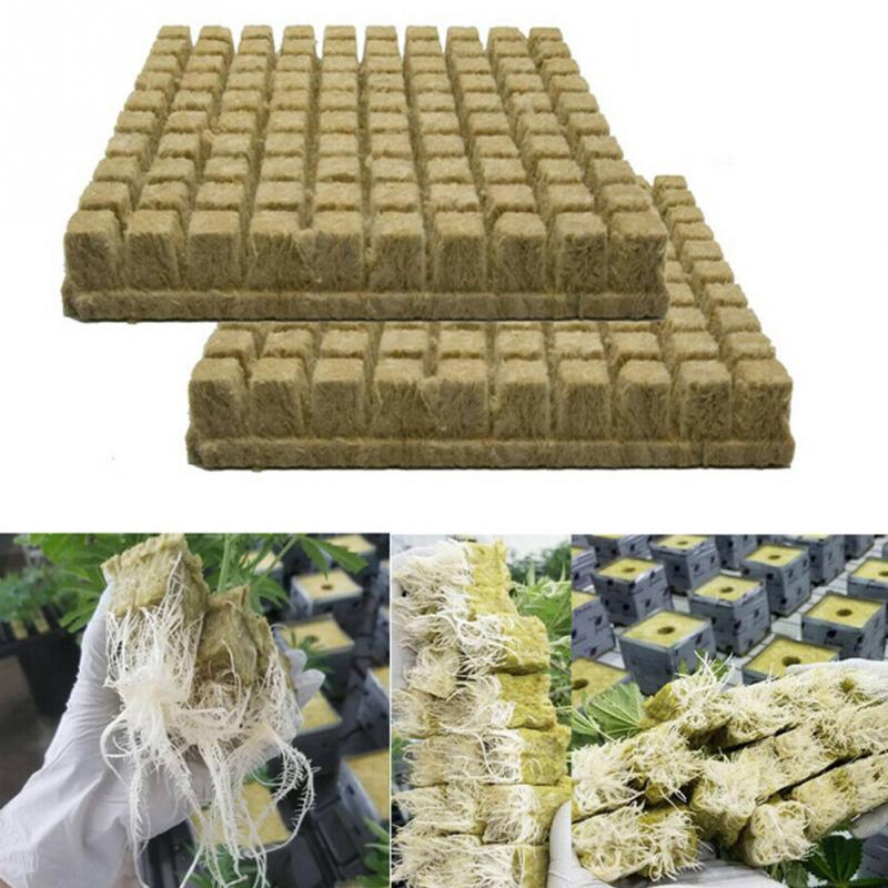 50pcs Soilles Plantin Sponge Planting Grow Grodan Starter Cubes Rockwool Media Spread Cloning Rock Wool Cubes