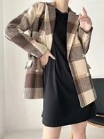 classic retro large plaid fashion contrast wool jacket ol ladies temperament khaki suit jacket coat women autumn winter new