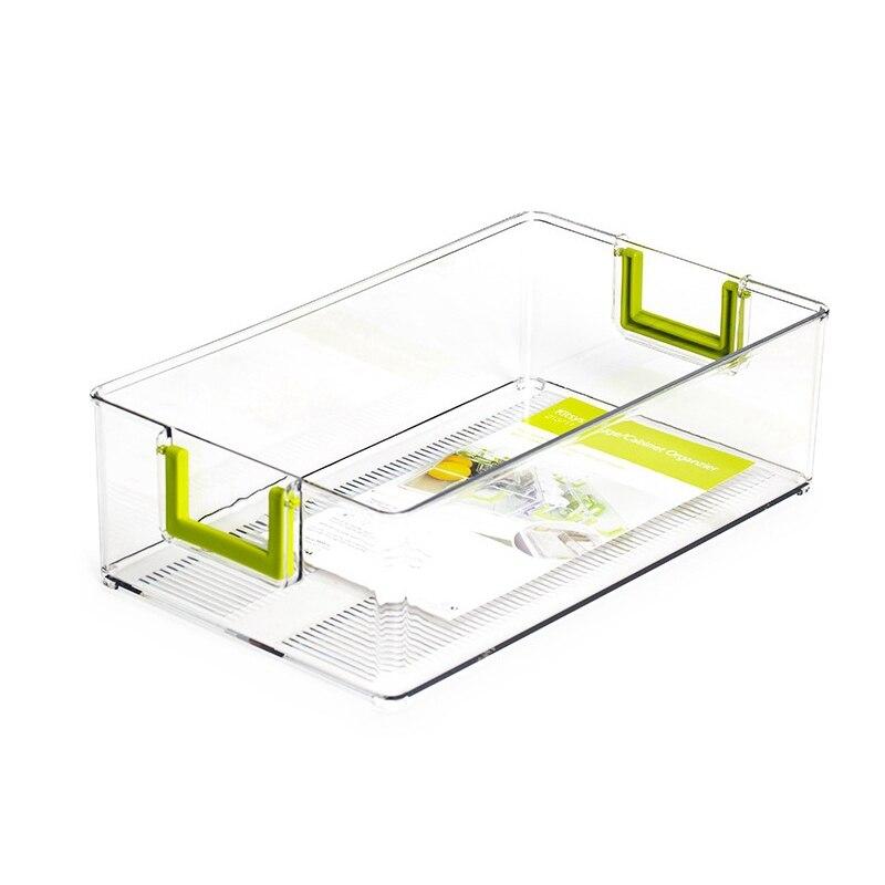 Nuevo refrigerador de plástico transparente, organizador de alimentos y bebidas, caja de almacenamiento de fruta con mango, para despensa de cocina