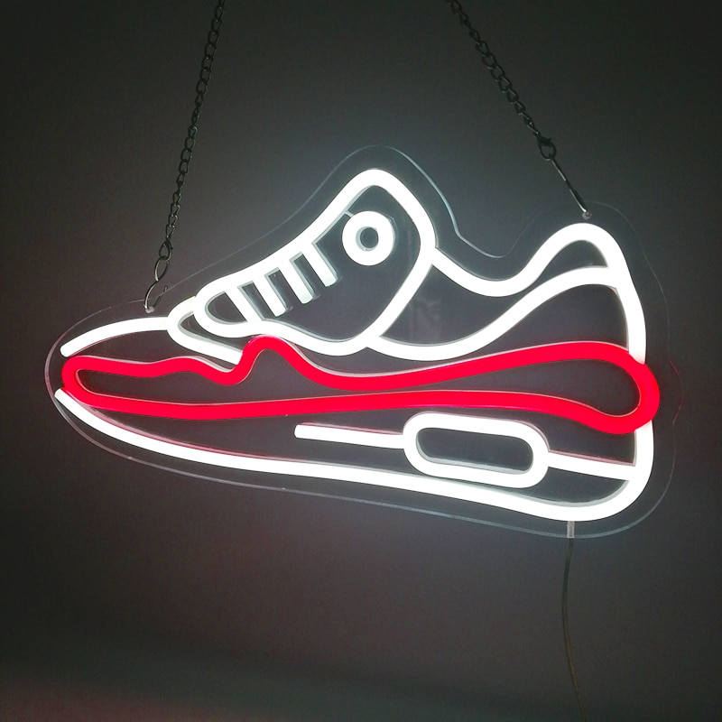 Custom Shoe 45x24cm Led Neon Light Sign Board Display For Store Birthday gift Home decoration Led Transparent Acrylic Night Lamp enlarge