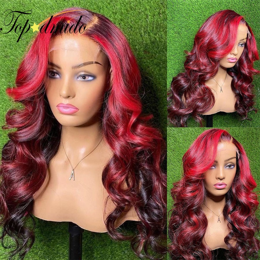 TOPODMIDO Body Wave 13x4 Lace Front Human Hair Wigs with Baby Hair Pre-Plucked  Highlight Color Braz