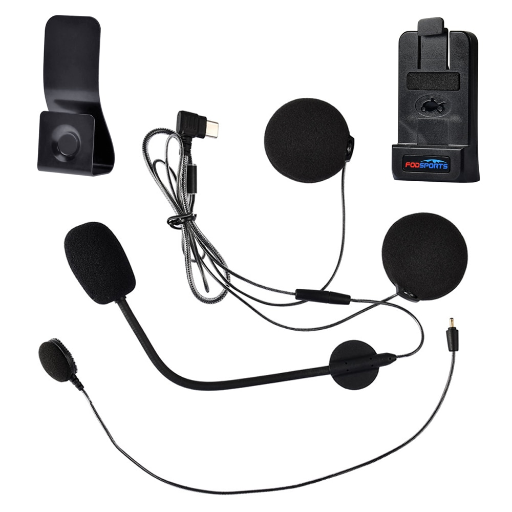 Fodsports M1-S زائد سماعة سماعة نوع-C واجهة مع ميكروفون كليب للدراجات النارية خوذة تحوي سماعة بلوتوث الداخلي