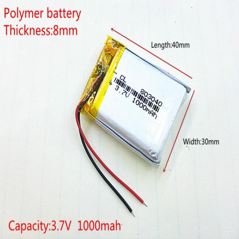 3.7V 1000mah 803040 Lithium polymère li-po batterie Rechargeable pour MP4 MP5 GPS DVD mobile jeu vidéo PAD e-books tablette PC