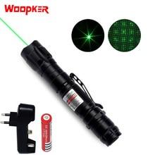 Laser puissant stylo 1000m 5mW Laser vert vue militaire réglable Focus Laser avec 18650 batterie et chargeur