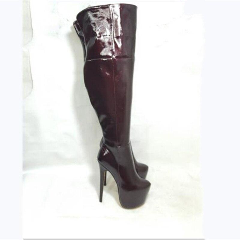 Zapatos SHOFOO, botas elegantes y bonitas para mujer, cuero, botas de tacón alto de 18cm, botas sobre la rodilla. Tamaño 34-45