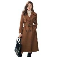 2021 fashion women autumn winter coat high quality wool woolen long overcoat lady elegant plus size loose slim coats female g234