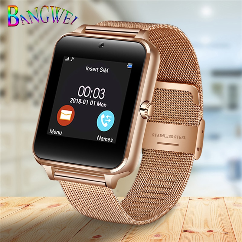 2020 New Stainless Steel Bluetooth Smart Watch Women Men Sport Waterproof SmartWatch LED Color Touch Screen Watch Support SIM TF