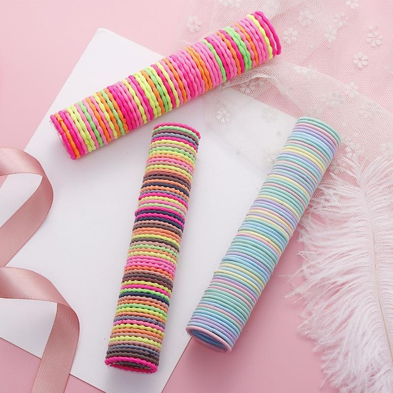 50Pcs/Set Children Colorful Basic Hair Ring Elastic Hair Bands Cute Hair Ties Girls Hair Accessories Ponytail Holder Headwear