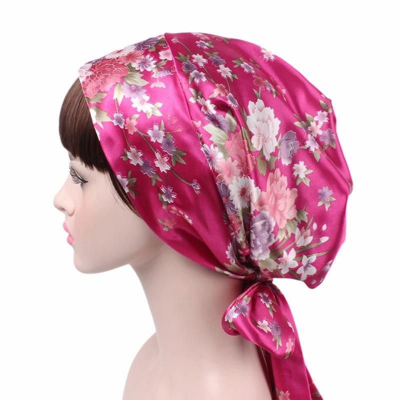 2020 New fashion print woman Bow Inner Hjiabs soft satin flowers muslim headdress turban head scarf ready to wear hijab bonnet