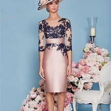 Lace Mother of the Bride Dresses Knee Length 2 Piece with Jacket Mother Dress High Quality Satin Wed