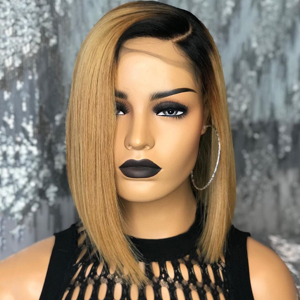 Straight Short Cut Bob Ombre Honey Blonde Lace Front Wig For Black Women With Babyhair Natural Hairline Synthetic Middle Part