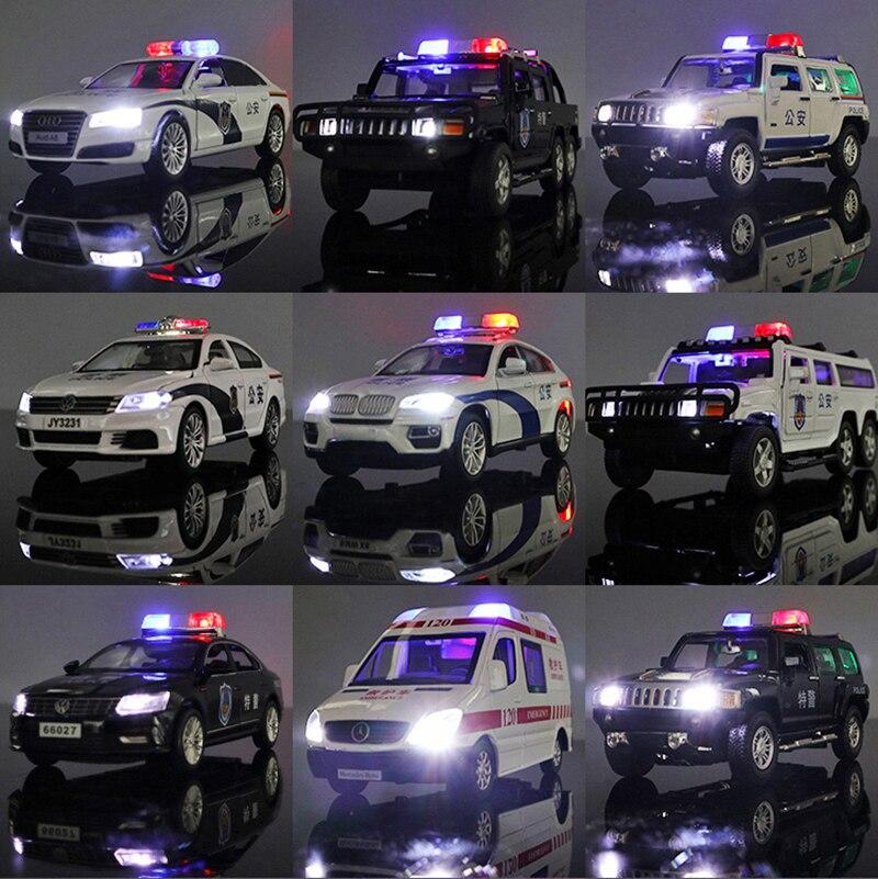 1:32 الشرطة سيارة سلسلة فورد رينجر X7 سيارة إسعاف تويوتا لاند كروزر نموذج سيارة Diecasts صوت ضوء متوهجة سيارة لعبة للأطفال عيد الميلاد