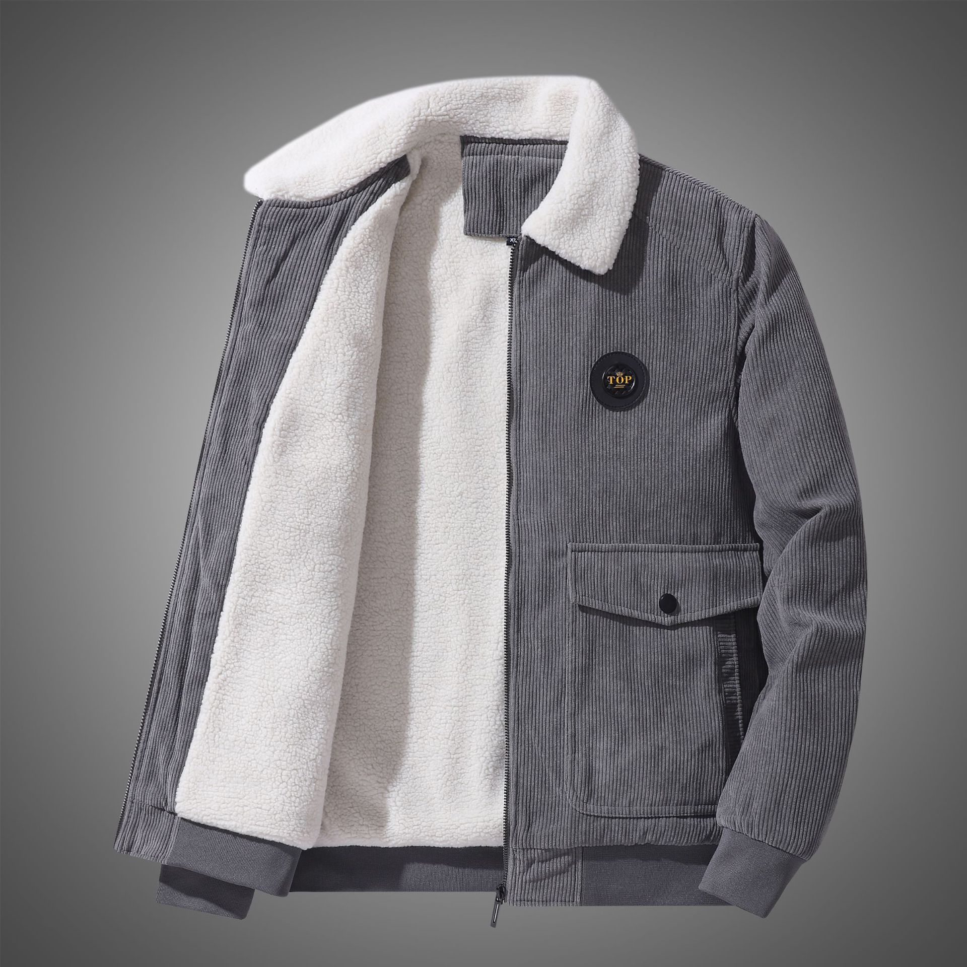 Куртка мужская Вельветовая с имитацией овечьей шерсти, свободная повседневная Вельветовая куртка с несколькими карманами для инструменто...