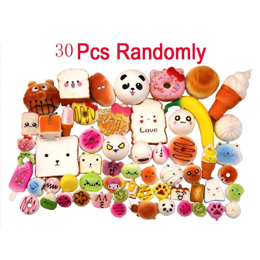 30 pieces of decompression toy super large medium mini random Random soft panda/bread/cake/bun phone strap игрушки для 40* enlarge