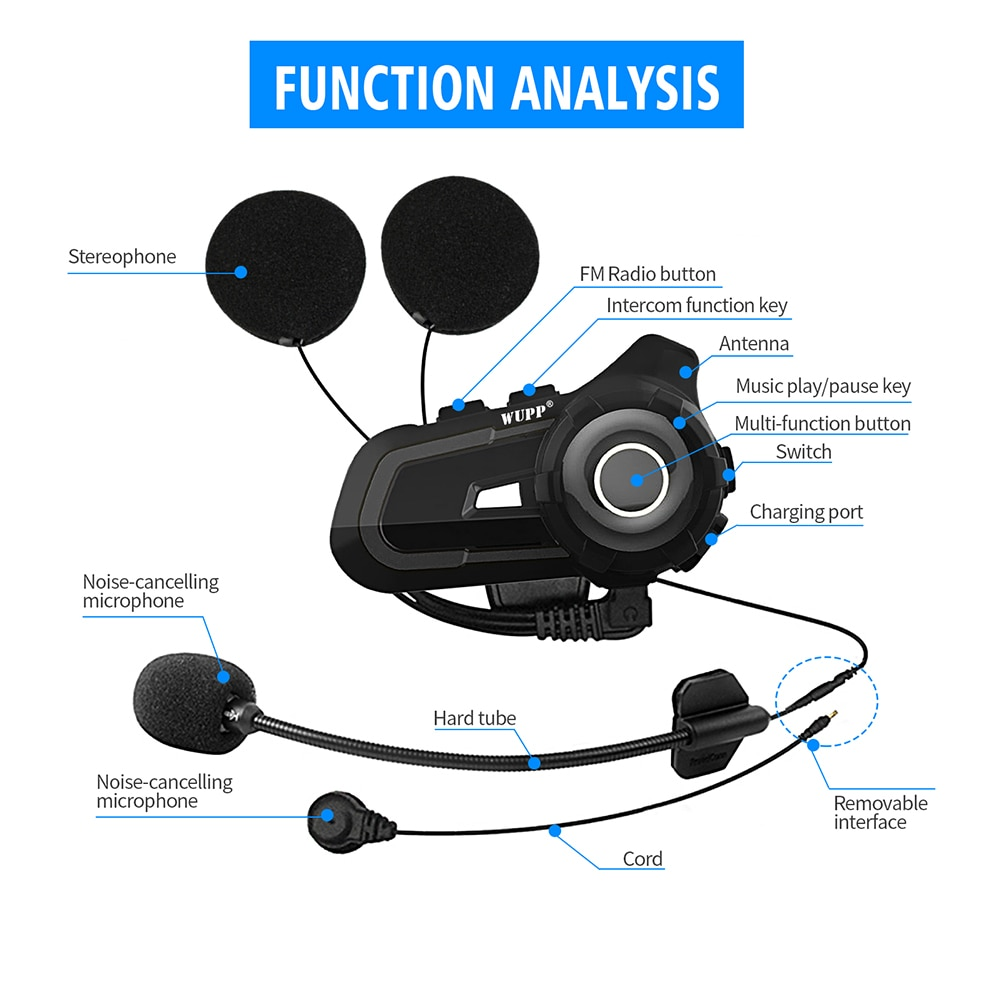 Motorcycle Helmet Bluetooth Headset Wireless Intercom Interphone with Microphone Navigation Music FM Radio Headset Fast delivery enlarge