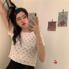2020 Vintage Cute Cherry T-shirt Women's T-shirts Tops Japanese Kawaii Ladies Ulzzang Female Korean Harajuku Clothes For Women