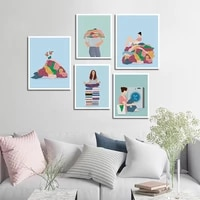canvas painting wall poster girl wash clothes picture pattern crafts minimalist decoration for bedroom living room decor gifts