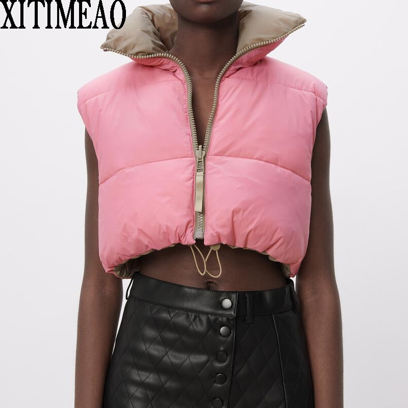 ZA Women Fashion Thick Warm Coat Vintage Pockets Drawstring Wear Both Positive And Negative Sleevele