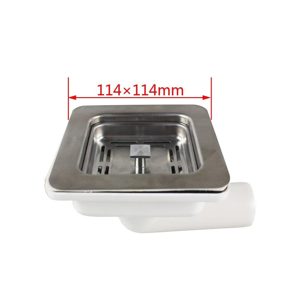 MTTUZK بالوعة المطبخ مربع استنزاف ، بالوعة مربع تصفية استنزاف 114mmX114mm الكوع الخلفي صف الجدار تصميم MTK245