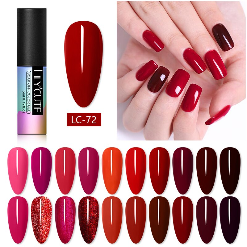 LILYCUTE Glitter Gel Nagellack 5ML Rot Farbe Semi Permanent Weg Tränken UV Vernis Semi Permanent Nail art für hybrid Gel