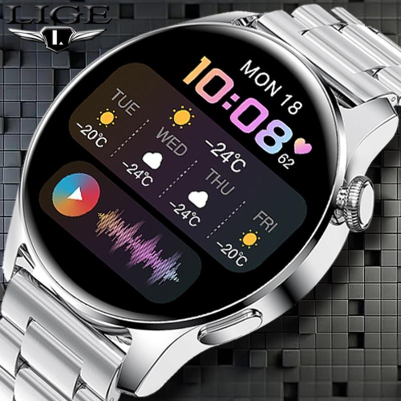 2021 LIGE جديد Smartwatch بلوتوث المكالمات الهاتفي ساعة ذكية الرجال النساء مراقب معدل ضربات القلب الرياضة سوار لياقة بدنية ل أندرويد IOS