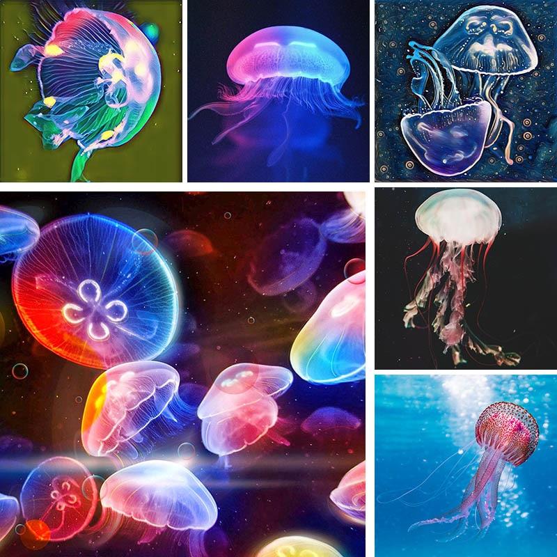 Cuadro de diamantes con diseño de animales en el océano, medusas 5D DIY, cuadro redondo completo, bordado de diamantes de imitación, punto de cruz de dibujos, decoración de pared U17