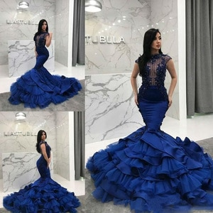 New Mermaid Prom Dresses 2021 Royal Blue Evening Gowns Lace Applique Tiered Ruffles Beaded Robe de soiree Formal Party Dress