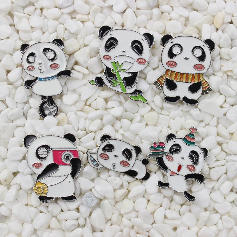 Tachuelas de metal de panda para juego acrobático, bufanda de bambú, cámara para dormir, insignia para fiesta de cumpleaños, bolsa punk, prendedores de solapa, broche de joyería