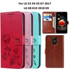 Case For LG X2 X4 X5 K7 2017 Flip Phone Case For LG K8 K10 2018 LG K9 Coque Funda PU Leather Wallet Cover Capas