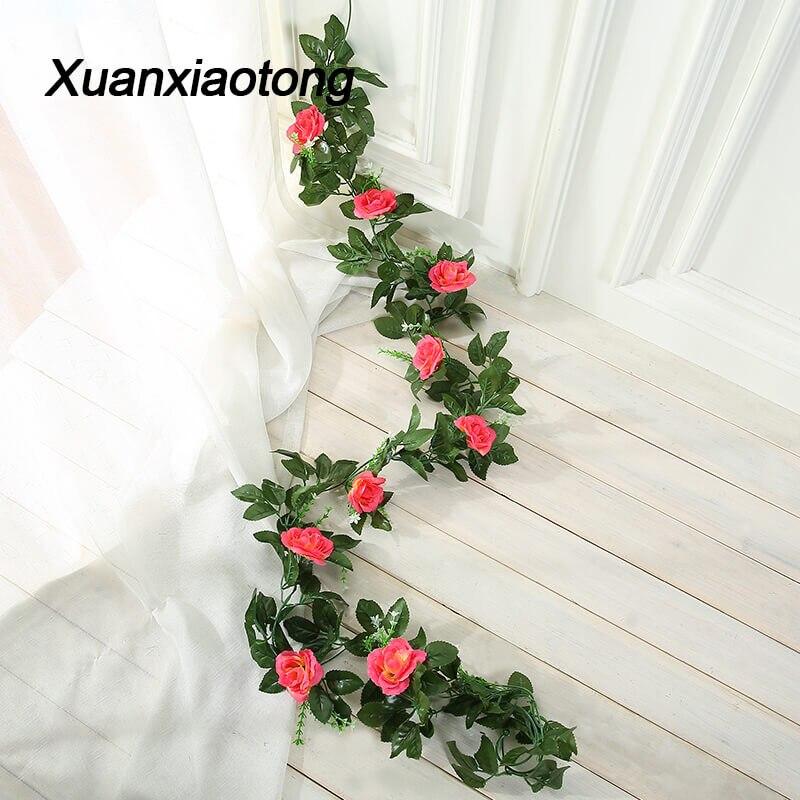 210cm 10head Rose Artificial Flower Vine Wedding Background Wall Hanging Decoration Home Festival Decor Faux Flowers Rattan