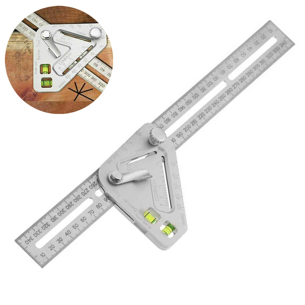 Triangle Angle Ruler Level Protractor Aluminum Alloy High Accuracy Woodworking Carpentry Measuring Tool Instrume Multifunctional