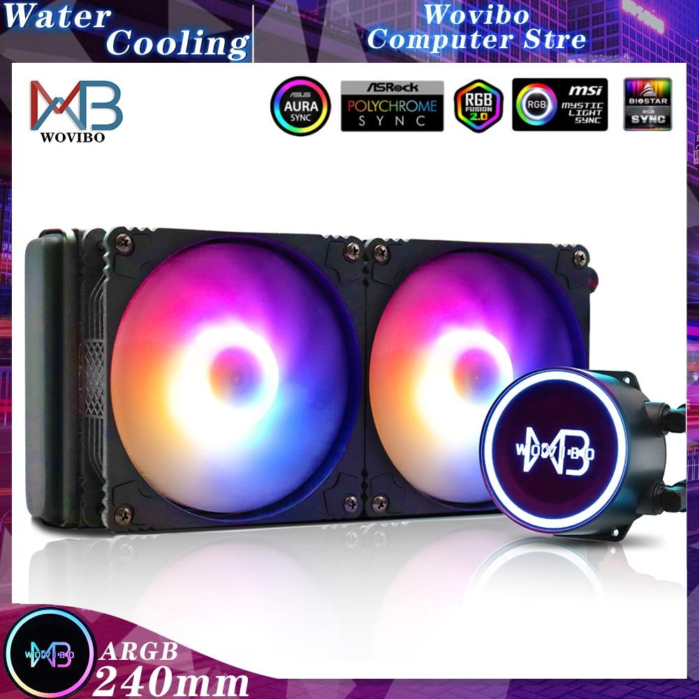 مبرد كمبيوتر Wovibo PC CPU لتبريد المياه بمروحة سائل RGB ARGB مشعاع Ventilador لـ LGA 1150 1151 1155 1200 1366 2011 AM4